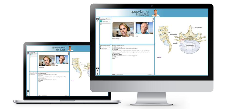 Een computerscherm met daarop een impressie van een consult in de virtuele spreekkamer van contextMe
